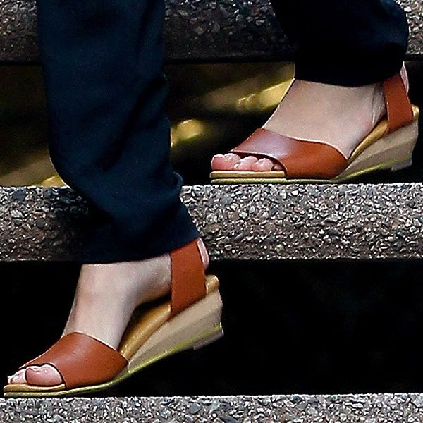 Kate Bosworth's See by Chloe ankle strap wedge sandals