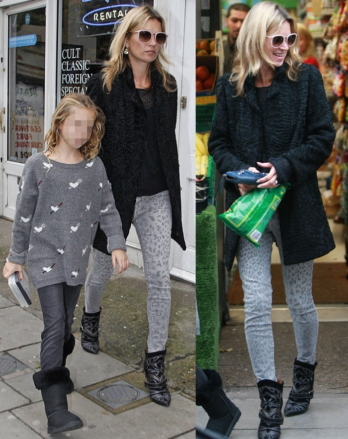 Kate Moss shopping for a DVD and popcorn in leopard print jeans