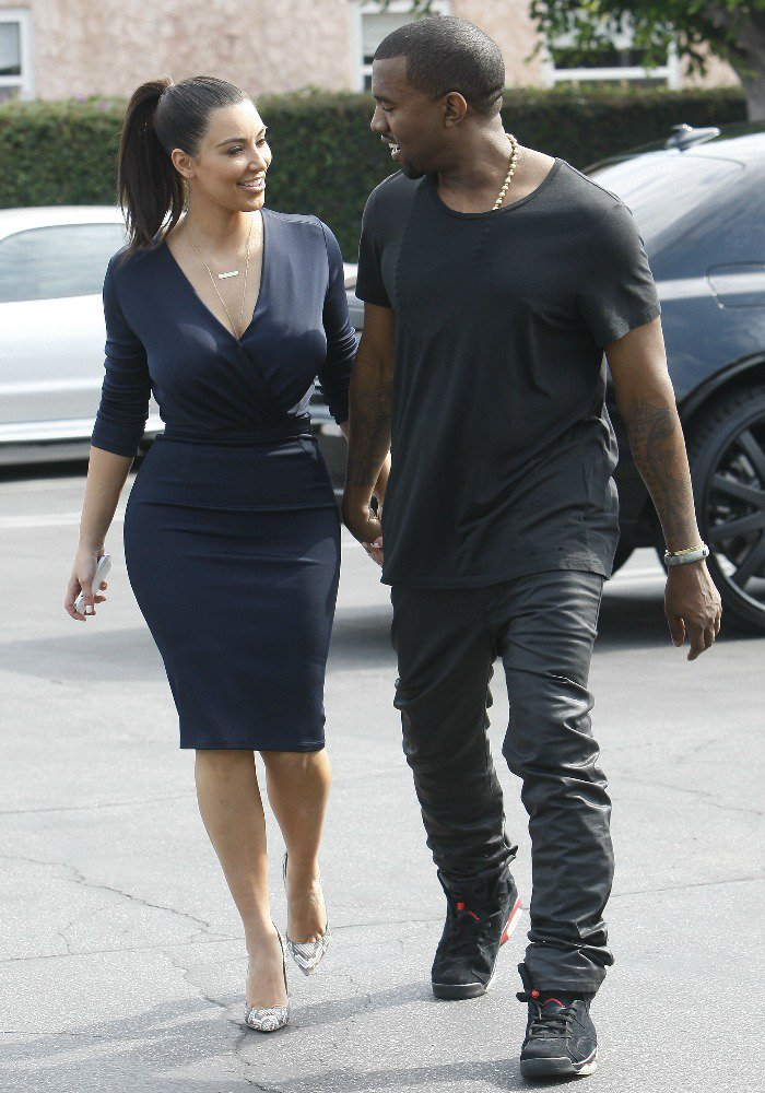 Kim Kardashian and Kanye West heading out to lunch in Beverly Hills after attending the grand opening of Dash in Los Angeles on July 13, 2012