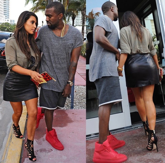 Kim Kardashian and Kanye West went house hunting while sharing an umbrella in Miami on October 7, 2012