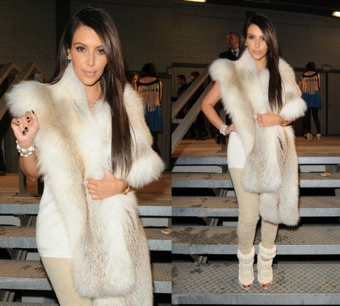 Kim Kardashian attends the Kanye West Ready-To-Wear Fall/Winter 2012 show
