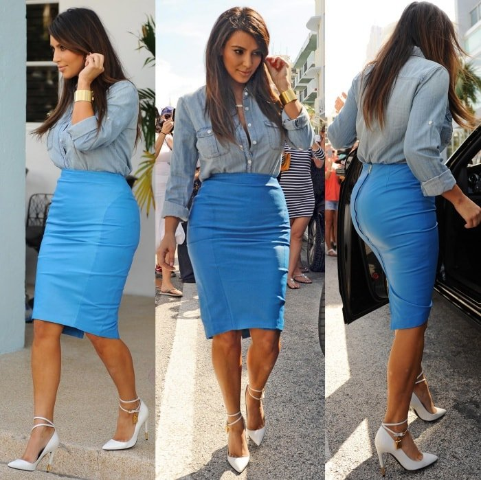 Kim Kardashian exiting the Webster Hotel in Miami, Florida, on October 2, 2012