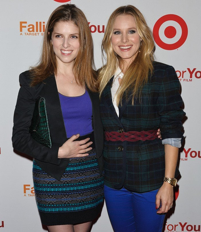Anna Kendrick and Kristen Bell on the red carpet at Target's Falling For You event held at Terminal 5 in New York City on October 10, 2012