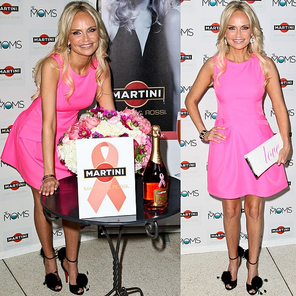 Kristin Chenoweth flaunted her legs in a Barbie-pink dress