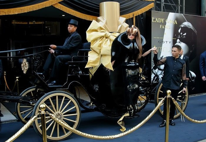 Lady Gaga arrives at Macy's Herald Square for her '