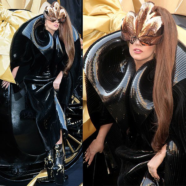 Lady Gaga arrives at Macy's Herald Square for her 'Fame' fragrance launch in a horse-drawn carriage, designed to resemble the perfume's bottle in New York City on September 14, 2012