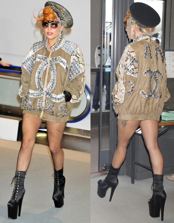 Lady Gaga arrives at Narita International airport to catch a flight on May 16, 2012