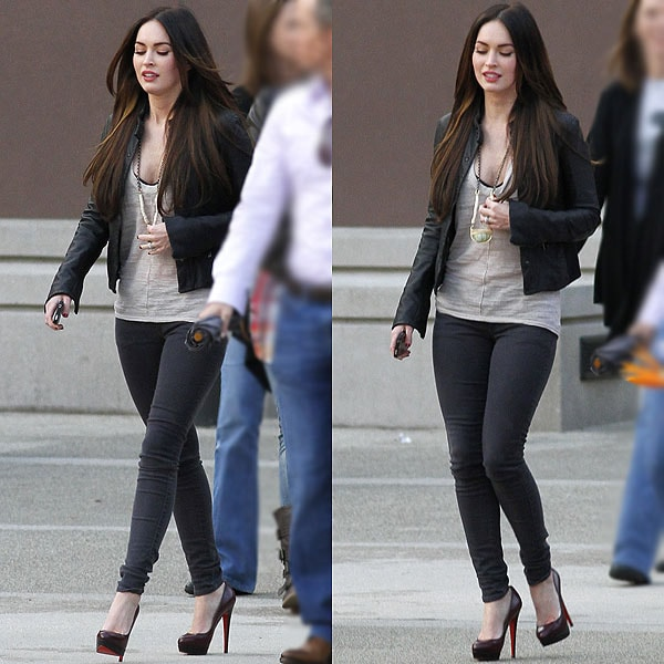 Megan Fox exits an office building in Westwood in Los Angeles, California on November 11, 2011