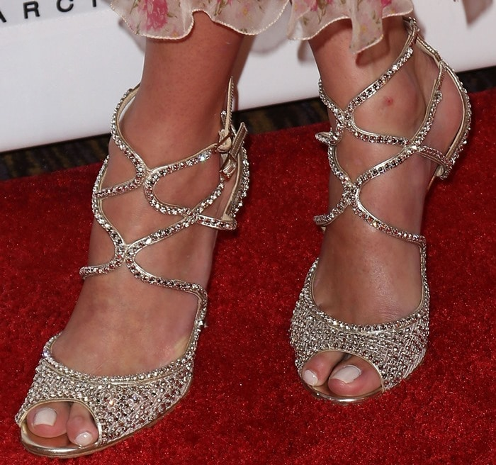 """Nicky Hilton's sexy feet in crystal-coated """"Falcon"""" sandals"""