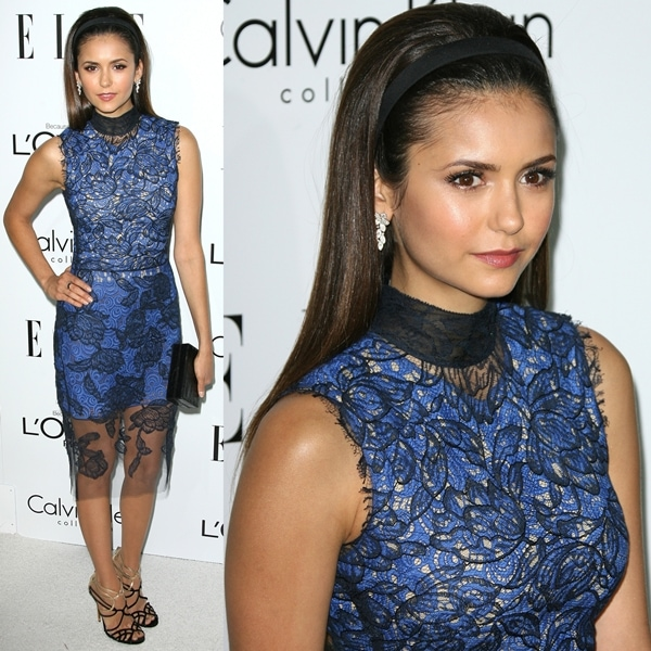 eacd62ba94e2e5 Blue Vera Wang Embroidered Dress + Black-and-Gold Jimmy Choo Mantra  Sandals. Nina Dobrev flaunted her legs at ELLE s 19th Annual Women in  Hollywood ...