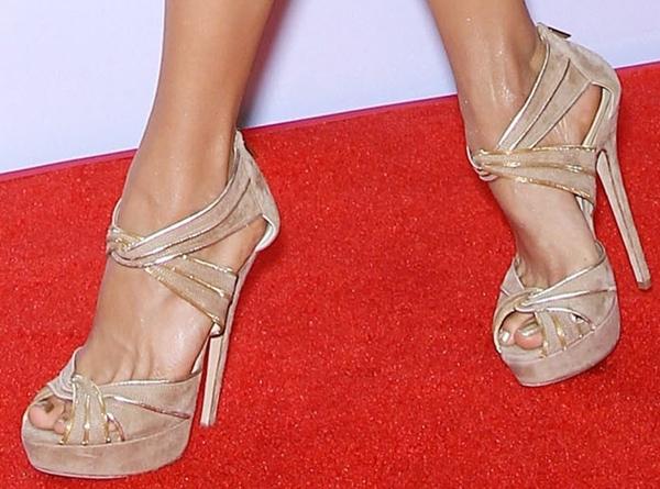 Nina Dobrev's sexy feet in Jimmy Choo stilettos