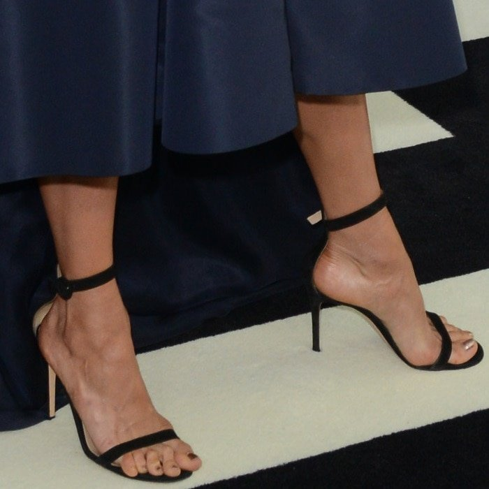 Nina Dobrev's sexy feet in black stiletto heels