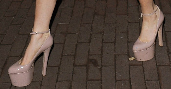 Lady Gaga wearing crazy high nude pumps