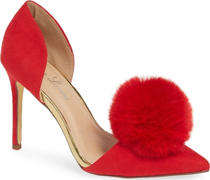 A plush pompom adds striking texture to an event-ready pump designed in a flirtatious d'Orsay silhouette with a slimmed-down heel