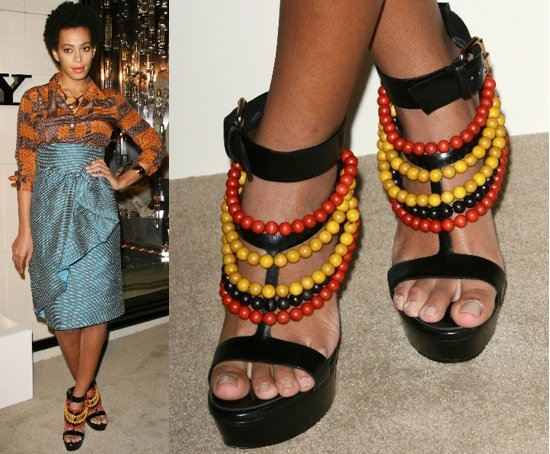 Solange Knowles in beaded sandals at the Burberry Body fragrance launch