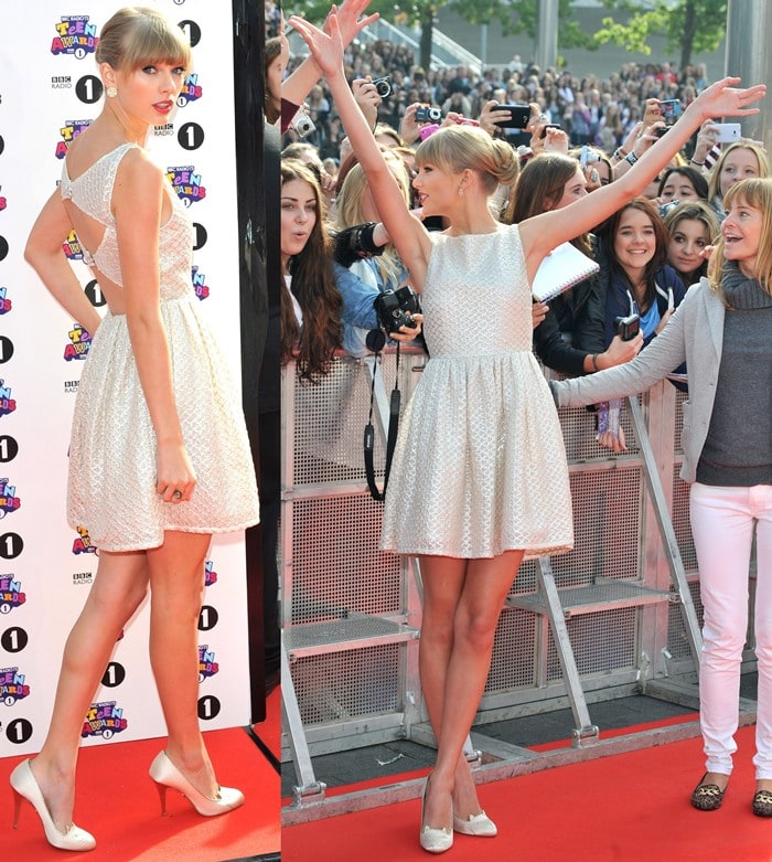 Taylor Swift brightened the red carpet at the BBC Radio 1 Teen Awards held at the Wembley Arena in London on October 7, 2012