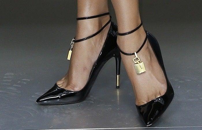 Jennifer Lopez wearing Tom Ford padlock ankle strap pumps