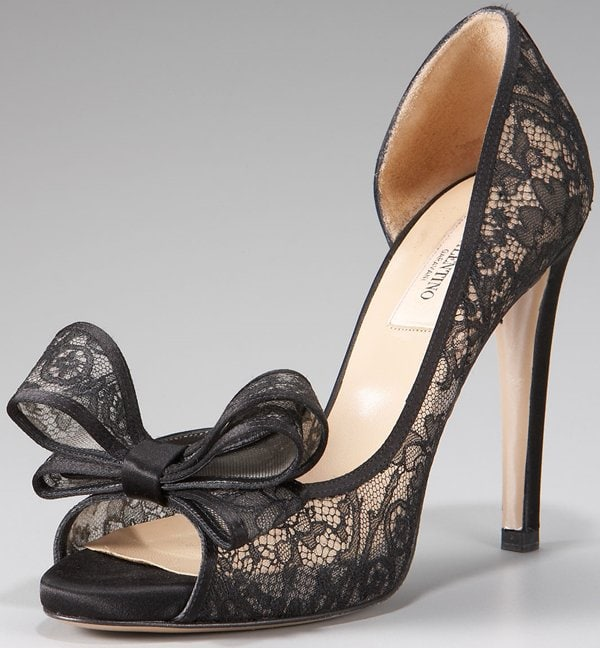 Valentino Lace Couture Bow D'Orsay Heels