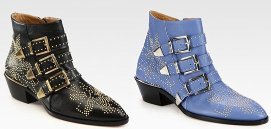 Black and Blue Chloe Susanna Studded Buckle Ankle Boots