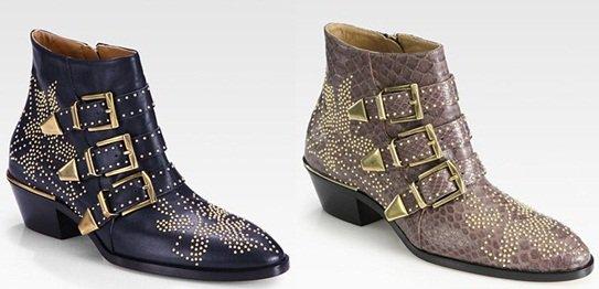 Chloe 'Susanna' Studded Buckle Ankle Boots