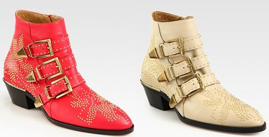 Red and Ivory Chloe Susanna Studded Buckle Ankle Boots
