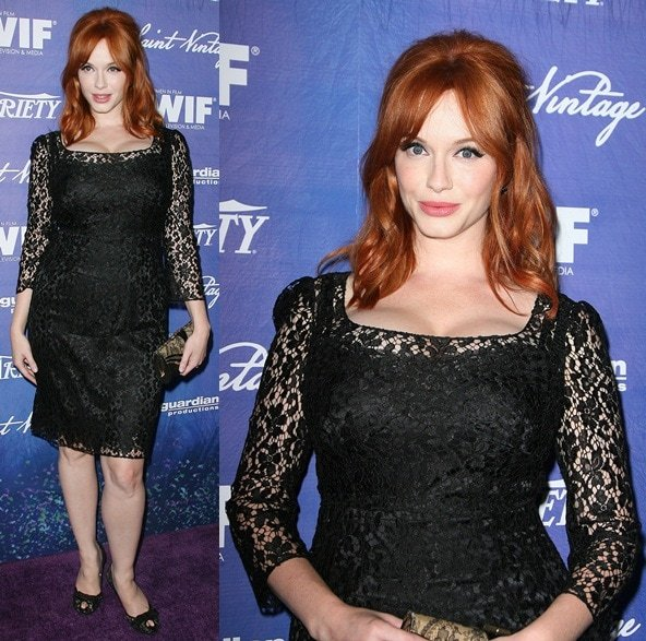 Actress Christina Hendricks flashes her legs at the Variety and Women in Film Pre-EMMY Event