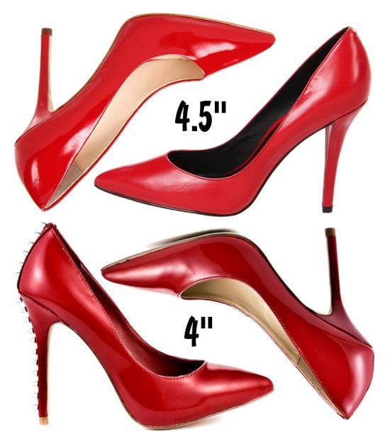 Pointy-toe red pumps