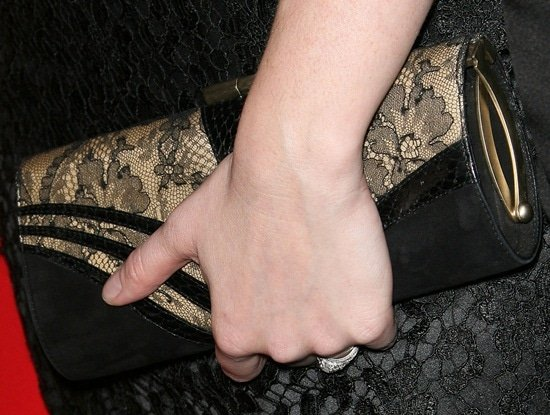 Christina Hendricks' lace clutch