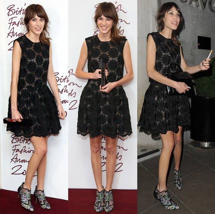 Alexa Chung flaunts her sexy legs in a sassy black lace dress
