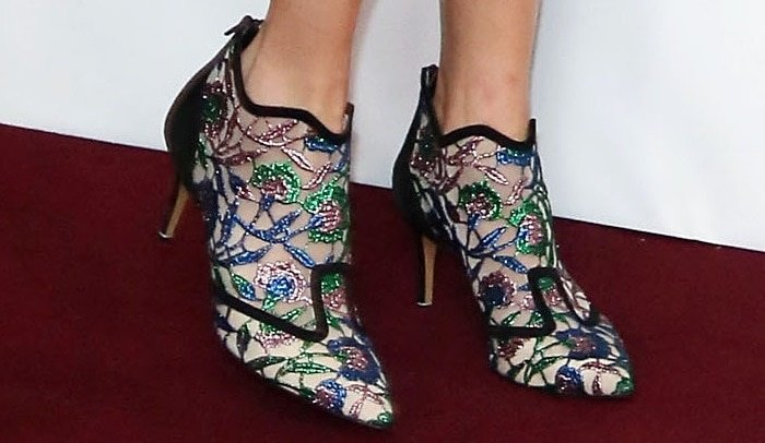 Alexa Chung shows off her feet in Belle Epoque embroidered mesh and suede ankle boots