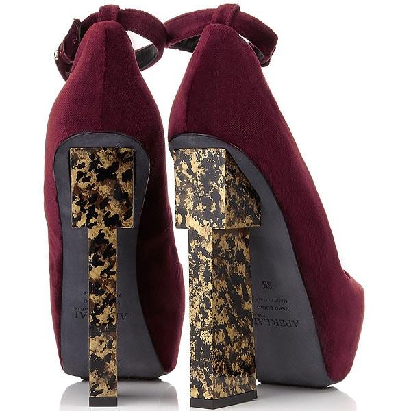 Aperlai Geisha Velvet Ankle-Strap Pumps