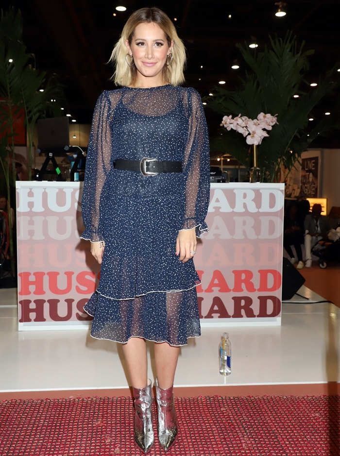 High School Musical Alum Ashley Tisdale attends Fashion Go's Opening Night Happy Hour