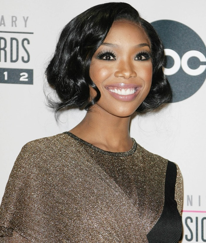 Brandy at he 40th Anniversary American Music Awards 2012, held at Nokia Theatre L.A. Live in Los Angeles on November 18, 2012