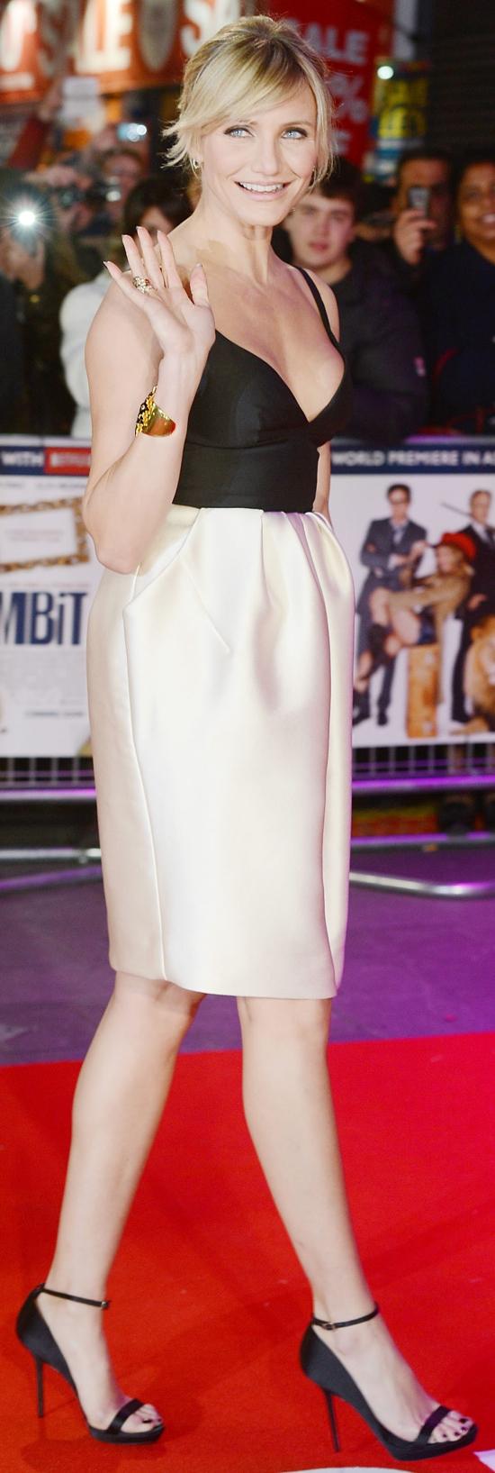 Cameron Diaz wearing a Stella McCartney two-tone dress, Solange Azagury-Partridgeearrings, aTom Binnscuff, and X3 Pomellato rings