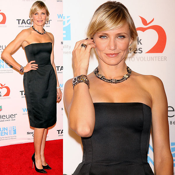 Cameron Diaz joining TAG Heuer to raise money for UN Women and New York Cares' Hurricane Sandy Relief Effort held at the Museum of Natural History in New York City on November 10, 2012