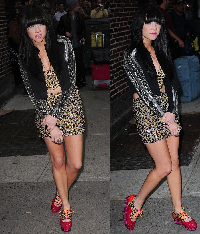 Carly Rae Jepsen mixes and matches patterns in studs, leopard-print, sequins and interesting shoes