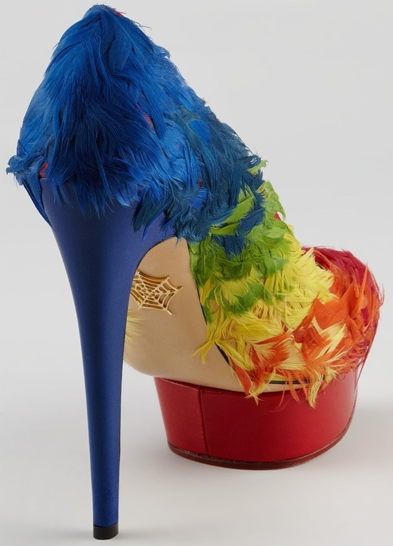 Charlotte Olympia Dolly Rainbow-Feathered Pumps