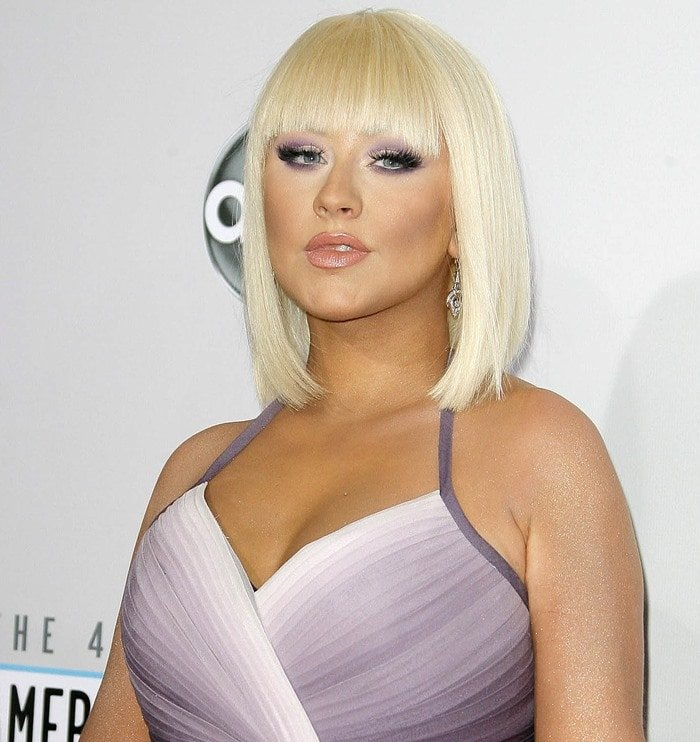 Christina Aguilera's Pamella Roland purple ombre gown fit her body perfectly