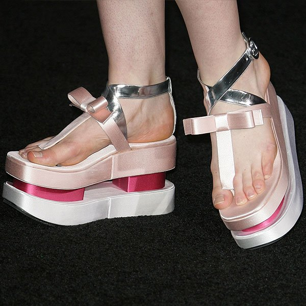 Elle Fanning's pink satin flatforms from Prada