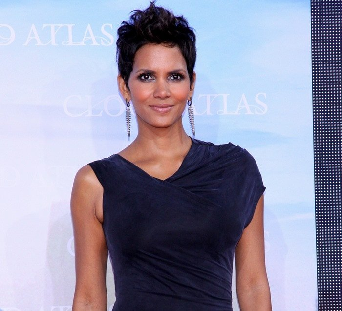 Halle Berry in a lush velvet gown by Helmut Lang
