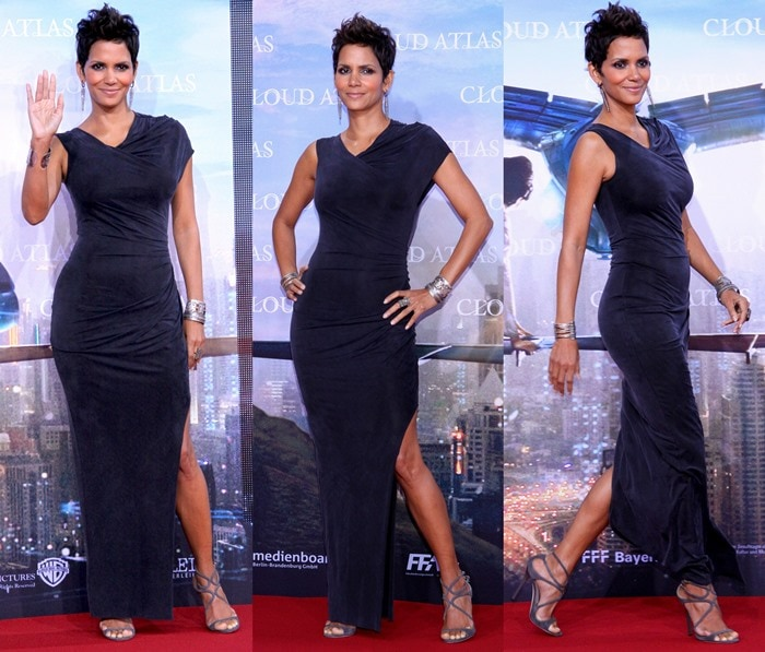 "Halle Berry in a lush velvet gown by Helmut Lang and strappy Jimmy Choo ""Lance"" sandals"