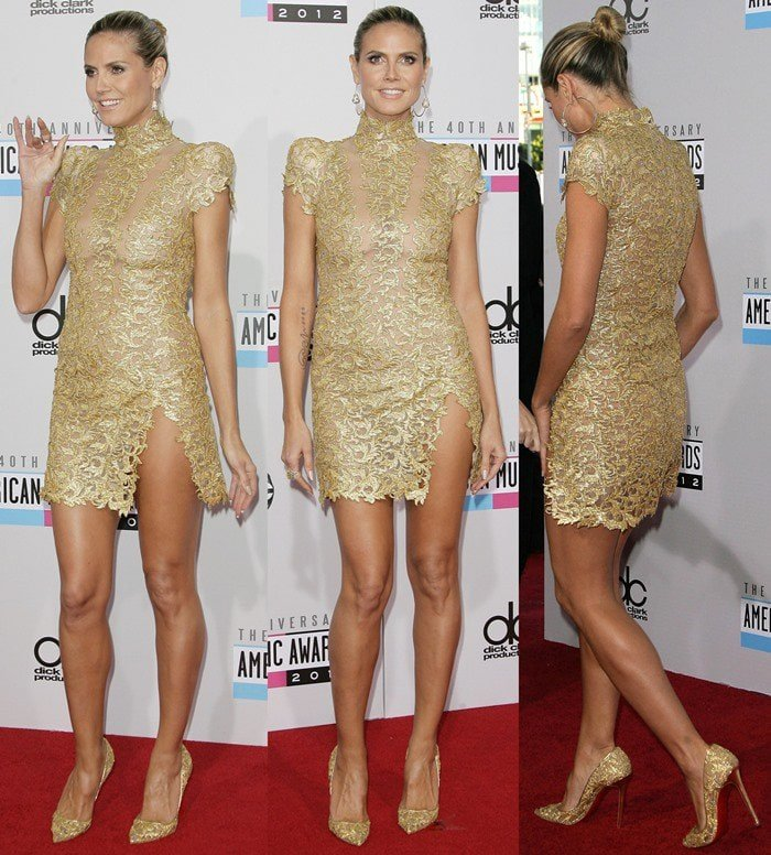 Heidi Klum flaunts her legs at the 40th Anniversary American Music Awards