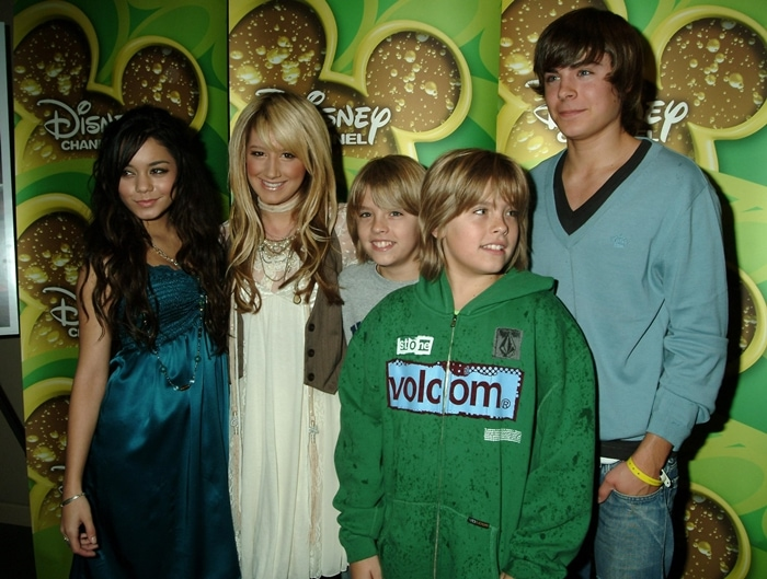 Vanessa Anne Hudgens, Ashley Tisdale, Dylan Sprouse, Cole Sprouse, and Zac Efron attend a screening of the new original movie of 'High School Musical'