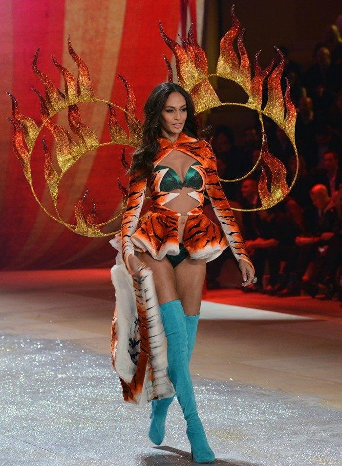 Puerto Rican supermodel Joan Smalls Rodriguez walks the runway during the Victoria's Secret 2012 Fashion Show