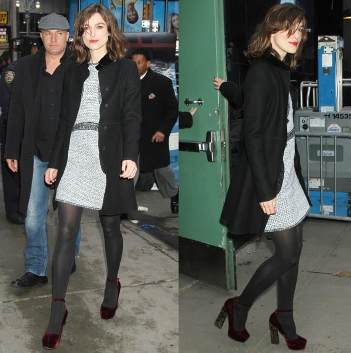Keira Knightley flaunts her sexy legs in black stockings
