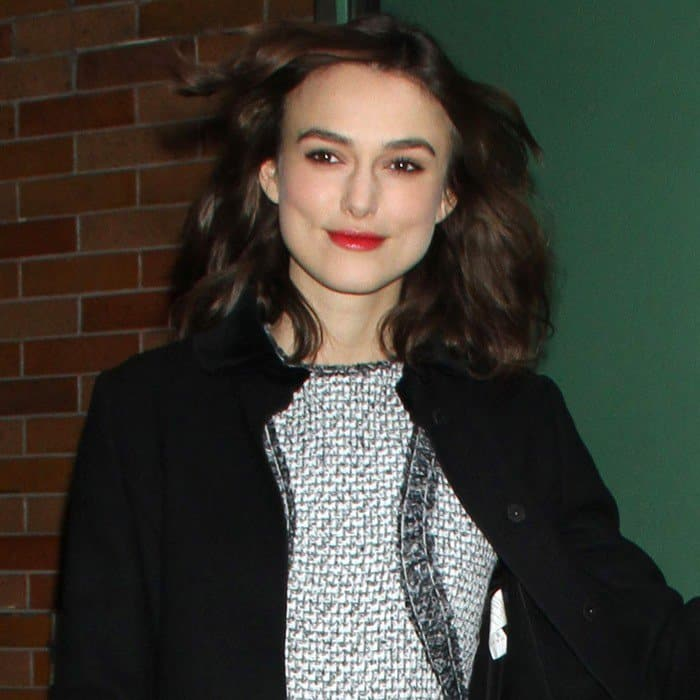 Keira Knightley in a mini dress made of the French fashion label's iconic tweed fabric