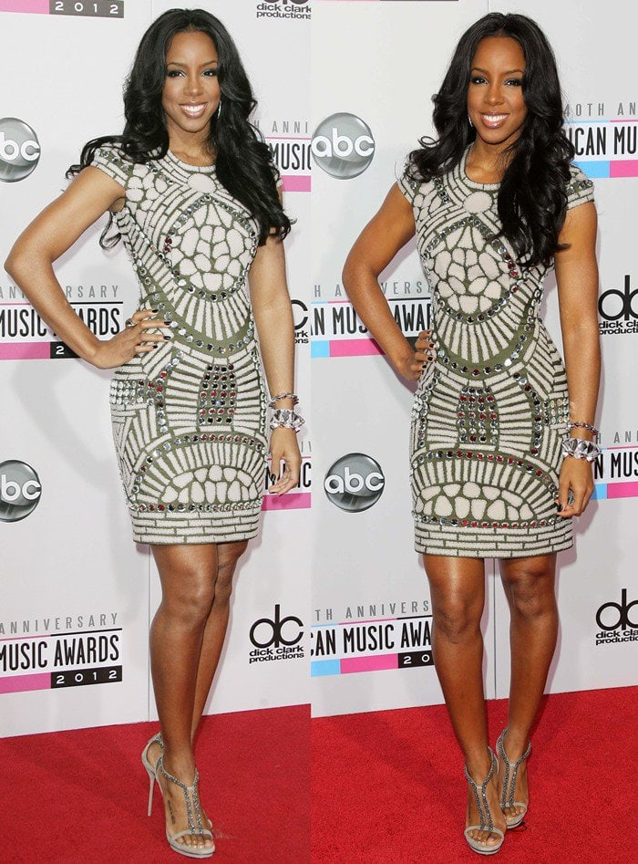 Kelly Rowland flaunts her legs in a silver sparkly Naeem Khan Fall 2012 dress