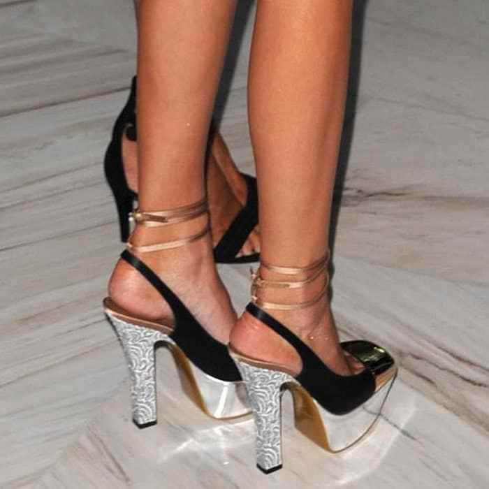 Kendall Jenner's feet in Yves Saint Laurent 'Obsession' slingback pumps