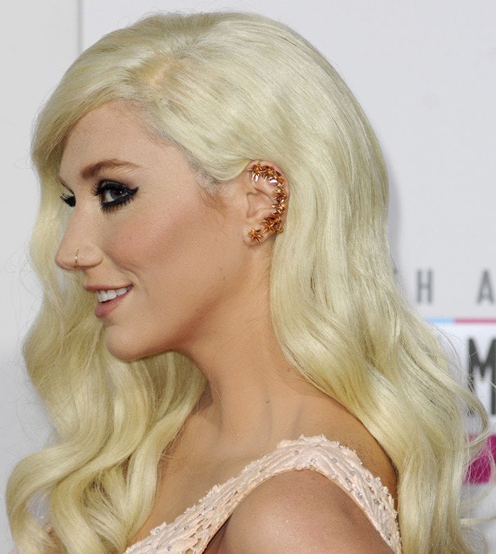 Kesha shows off her Karma El Khalil ear cuff
