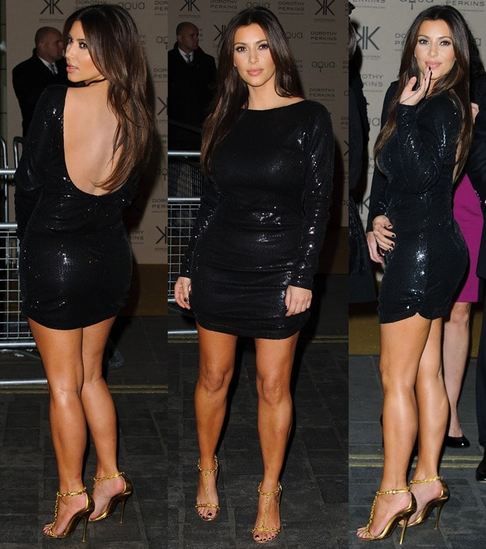 Kim Kardashian was spotted at the recent launch party for the collection wearing a pair of chain-strap Tom Ford sandals and a body-hugging shimmery black dress from her own brand